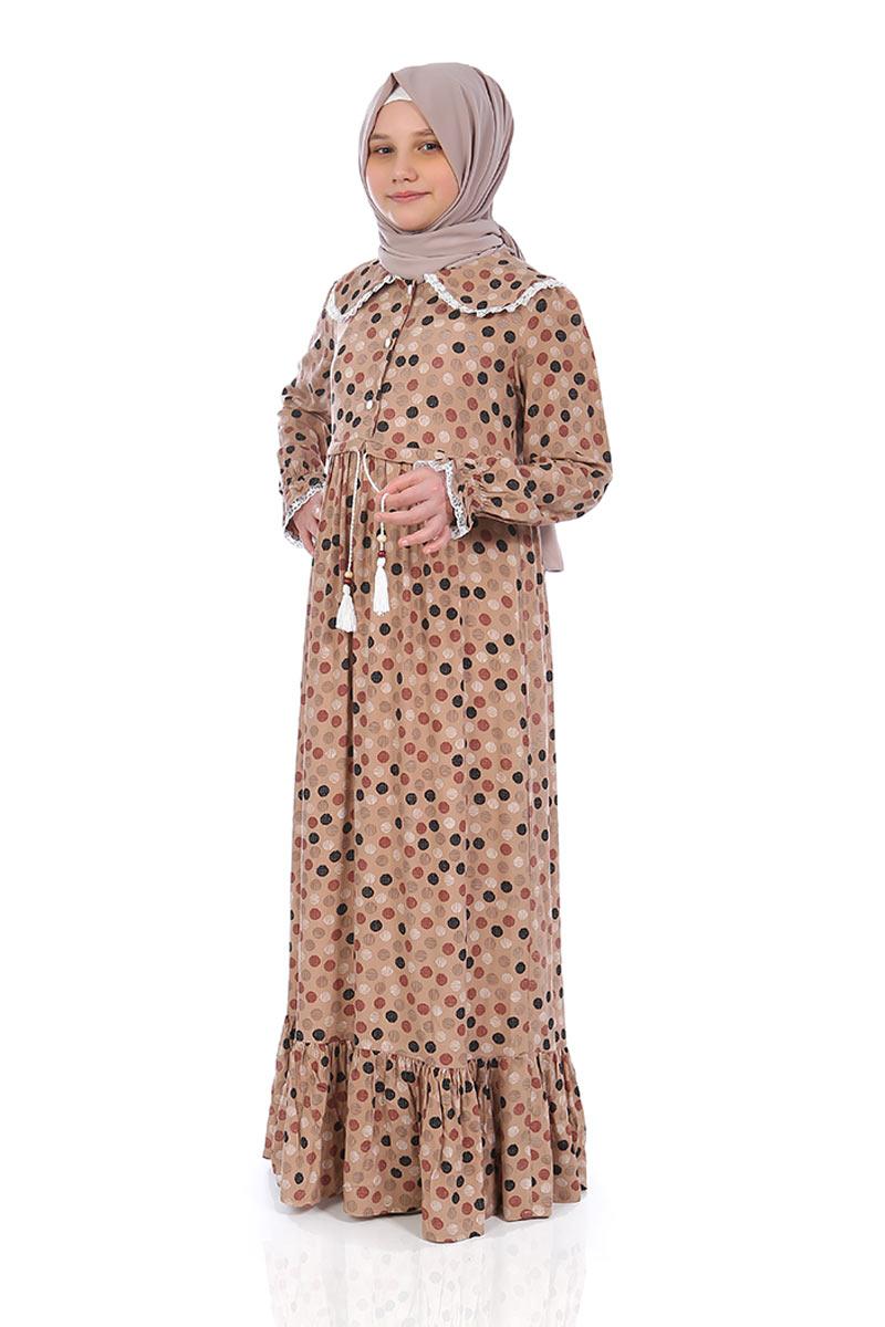 Çocuk Tesettür Elbise Rana Model Sütlü Kahve