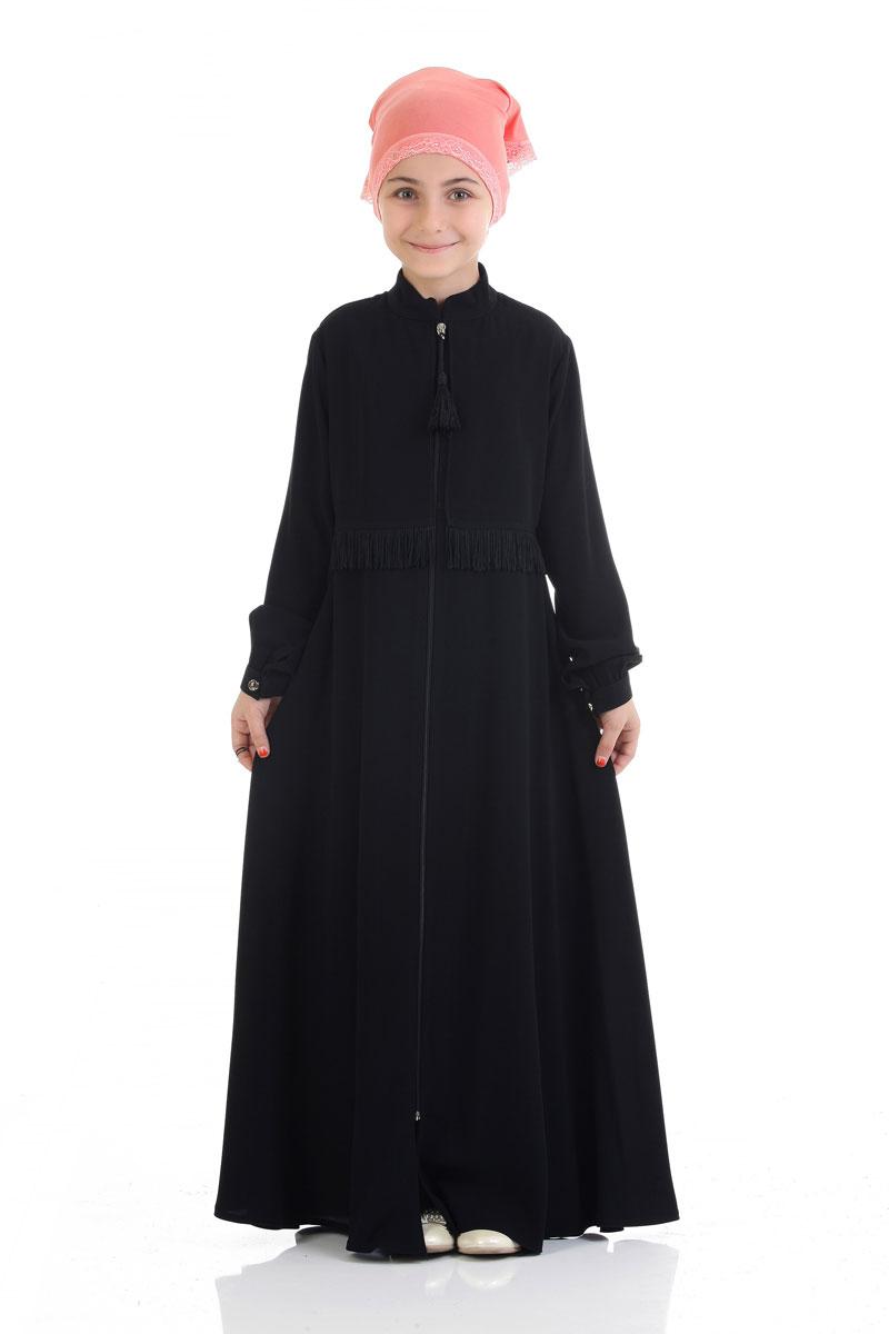 Çocuk Tesettür Ferace Firdevs Model Siyah