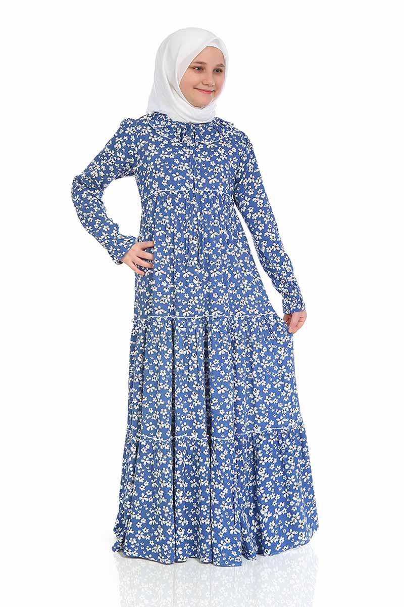 Çocuk Tesettür Elbise Şevval Model Mavi