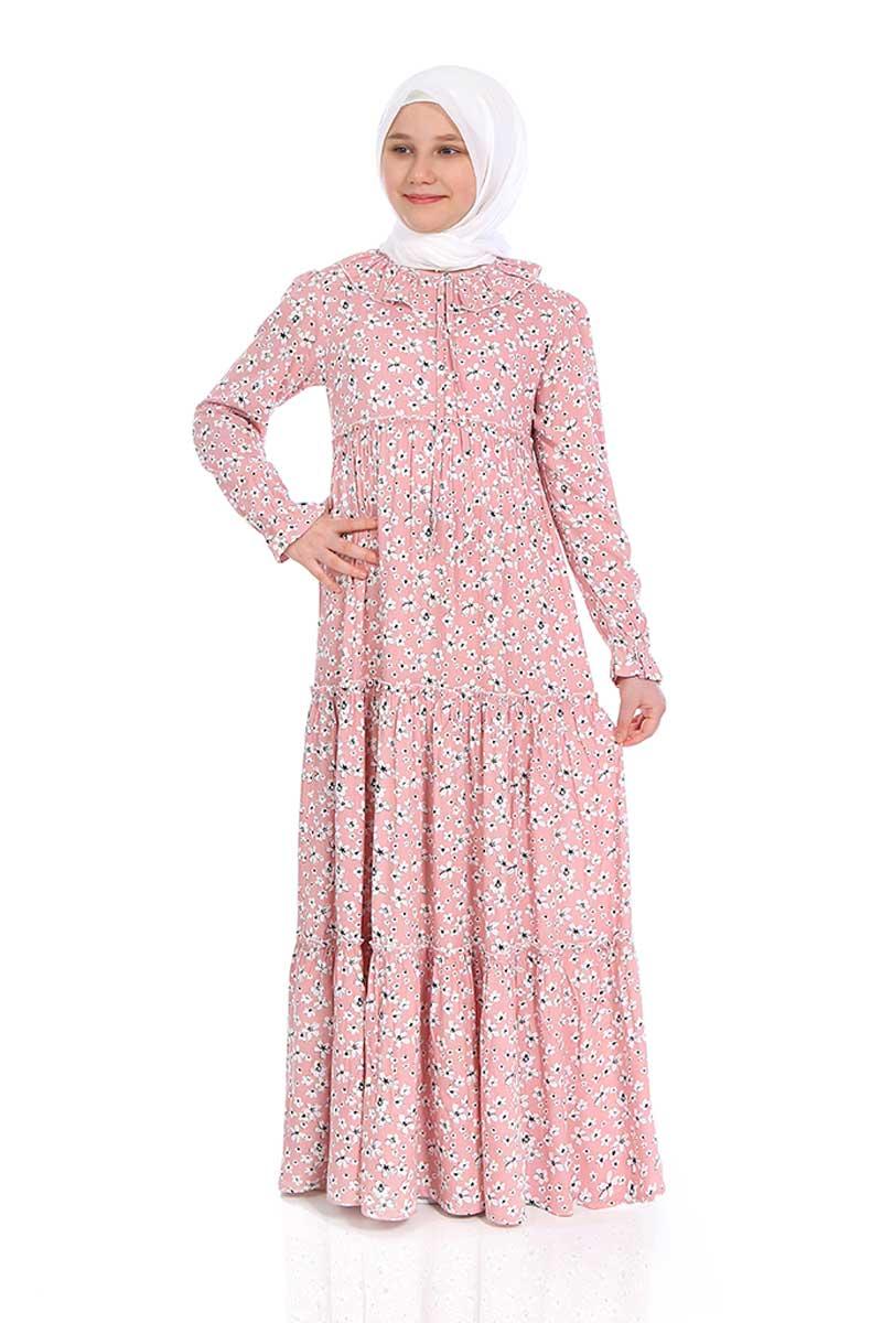 Çocuk Tesettür Elbise Şevval Model Pembe