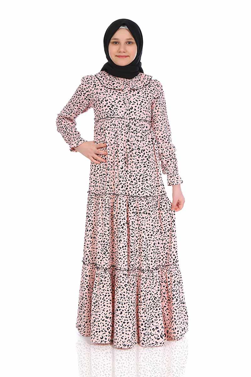 Çocuk Tesettür Elbise Şevval Model Pudra
