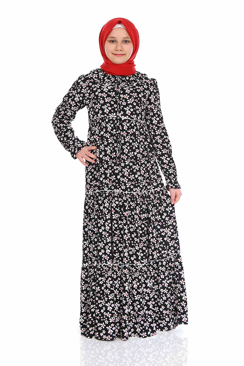 Çocuk Tesettür Elbise Şevval Model Siyah