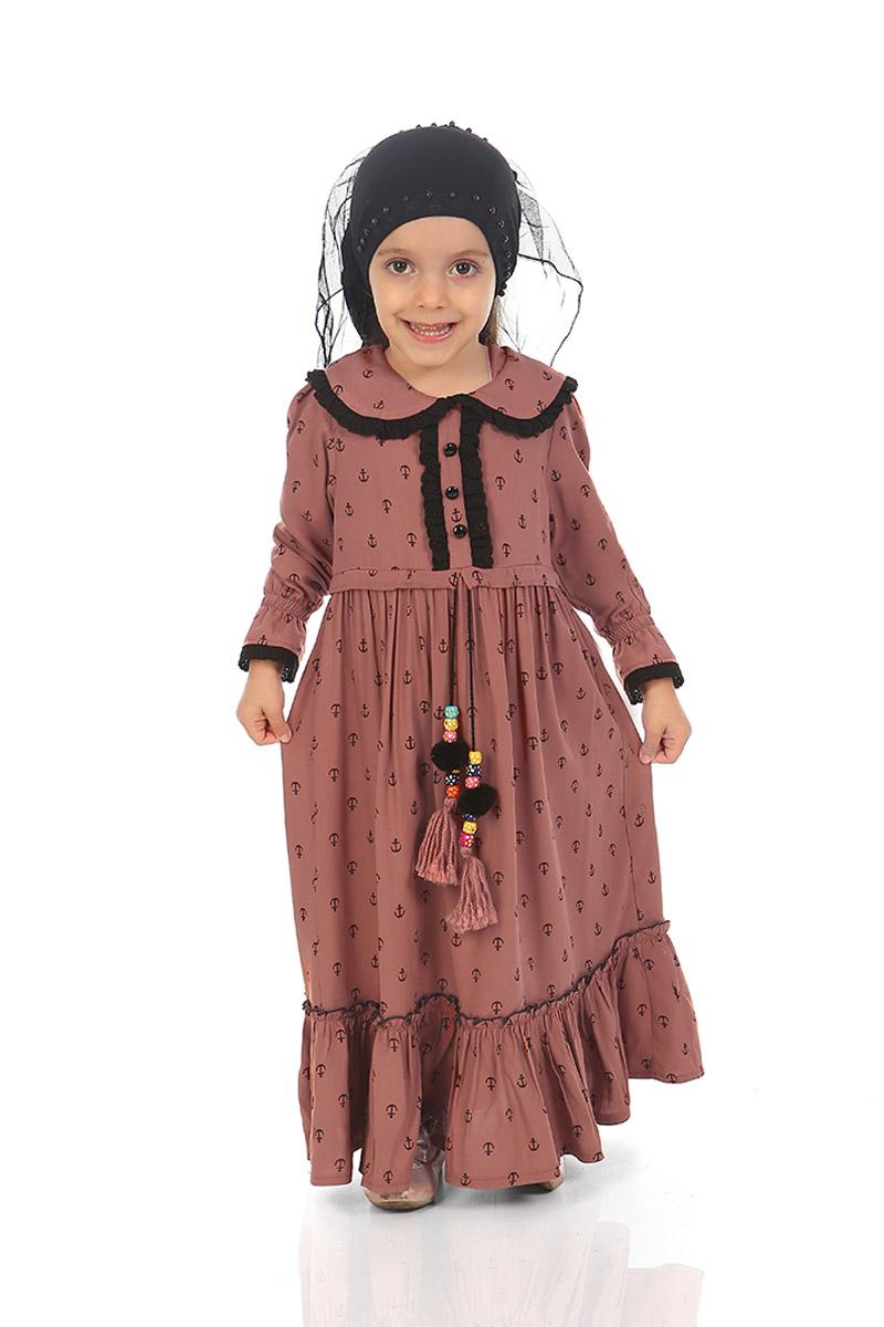 Çocuk Tesettür Elbise Zeynep Model Açık Kahve
