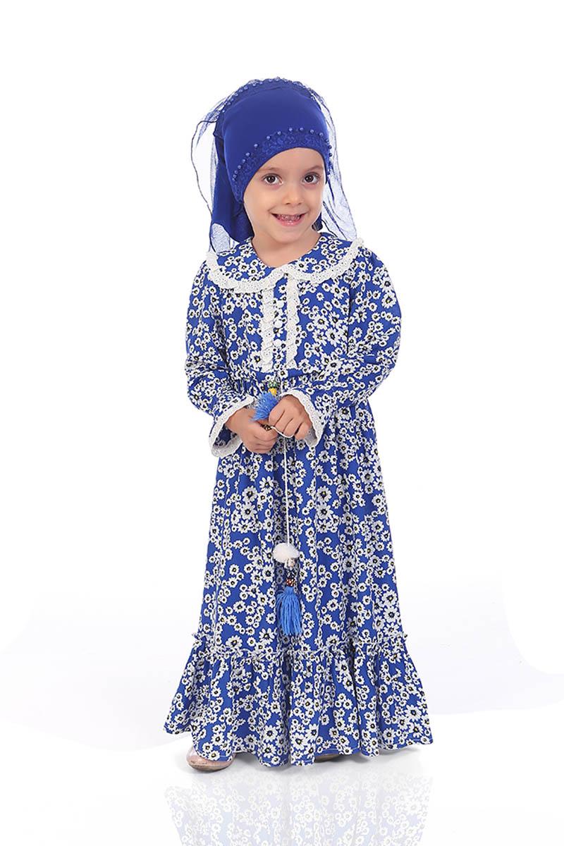 Çocuk Tesettür Elbise Zeynep Model Mavi