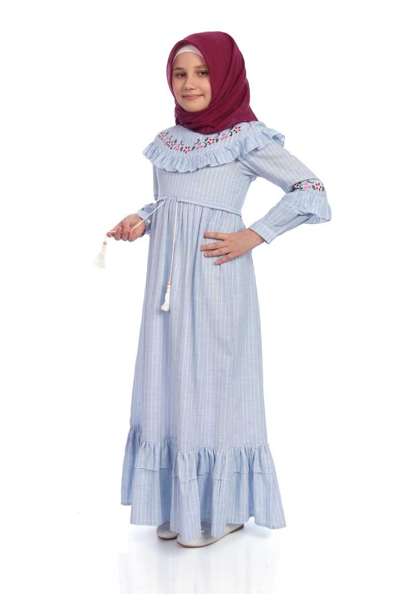 Çocuk Tesettür Elbise Zümra Model Mavi