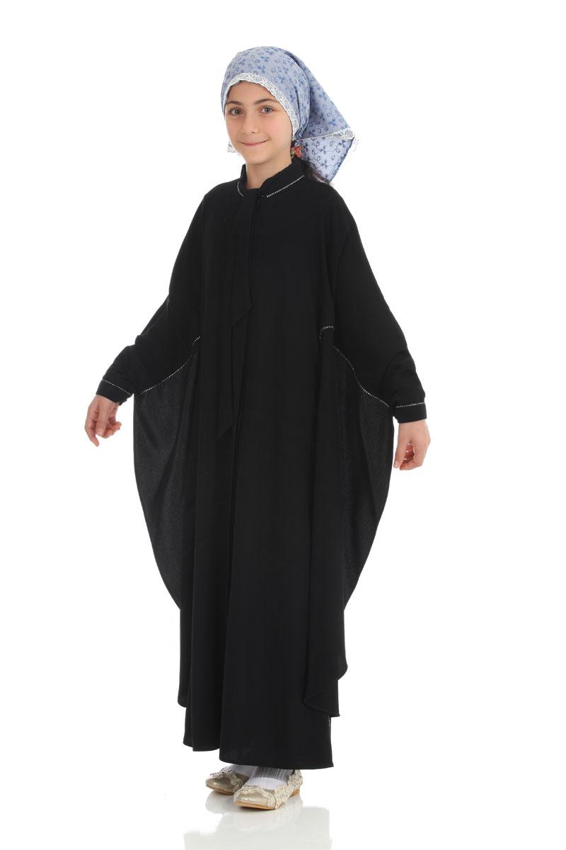 Çocuk Tesettür Ferace Yarasa Model Siyah