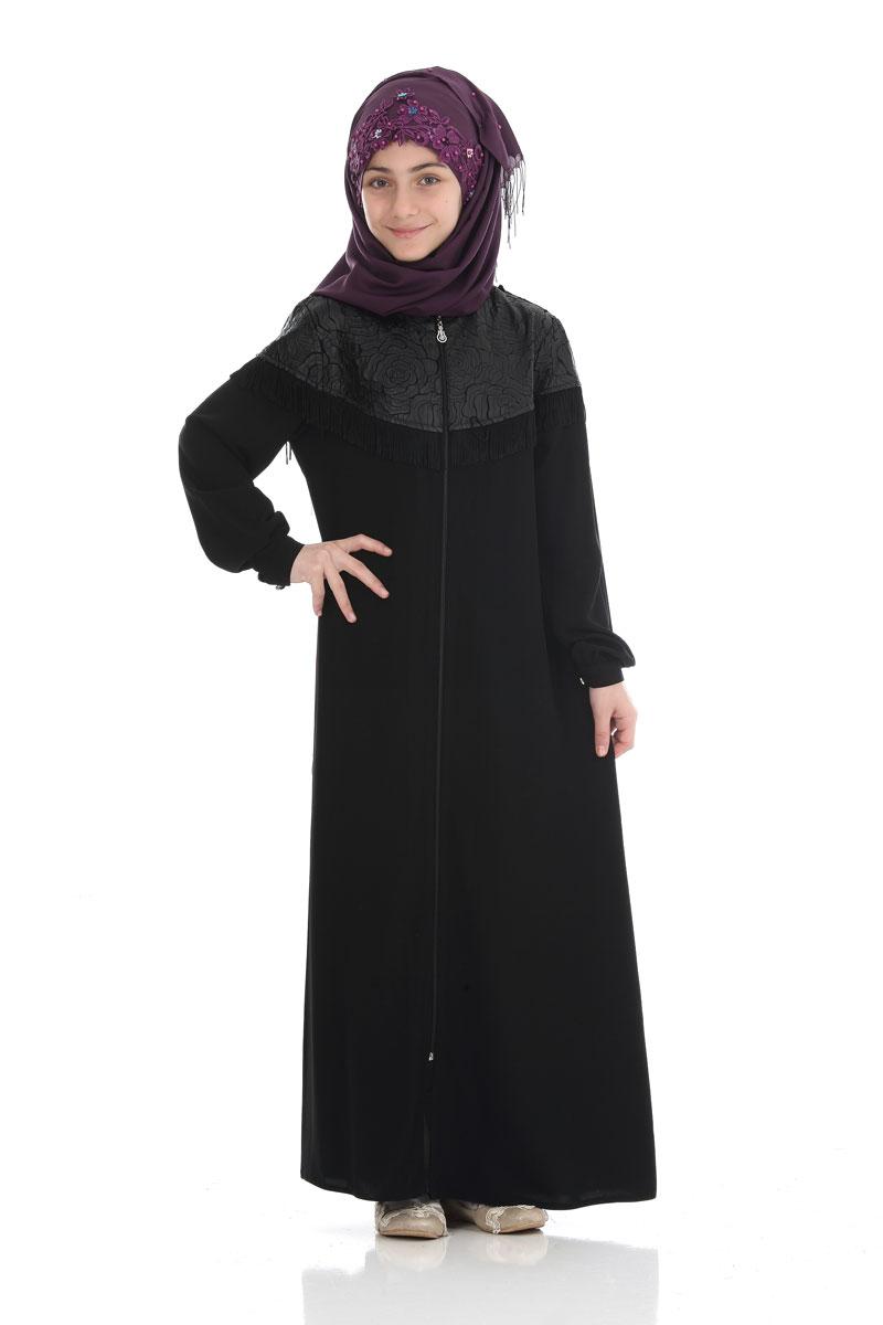 Çocuk Tesettür Ferace Zehra Model Siyah