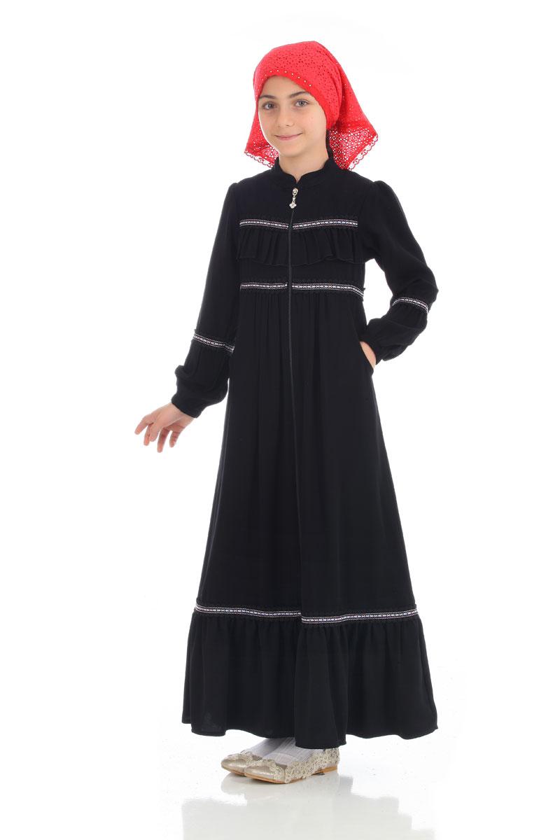 Çocuk Tesettür Ferace Prenses Model Siyah
