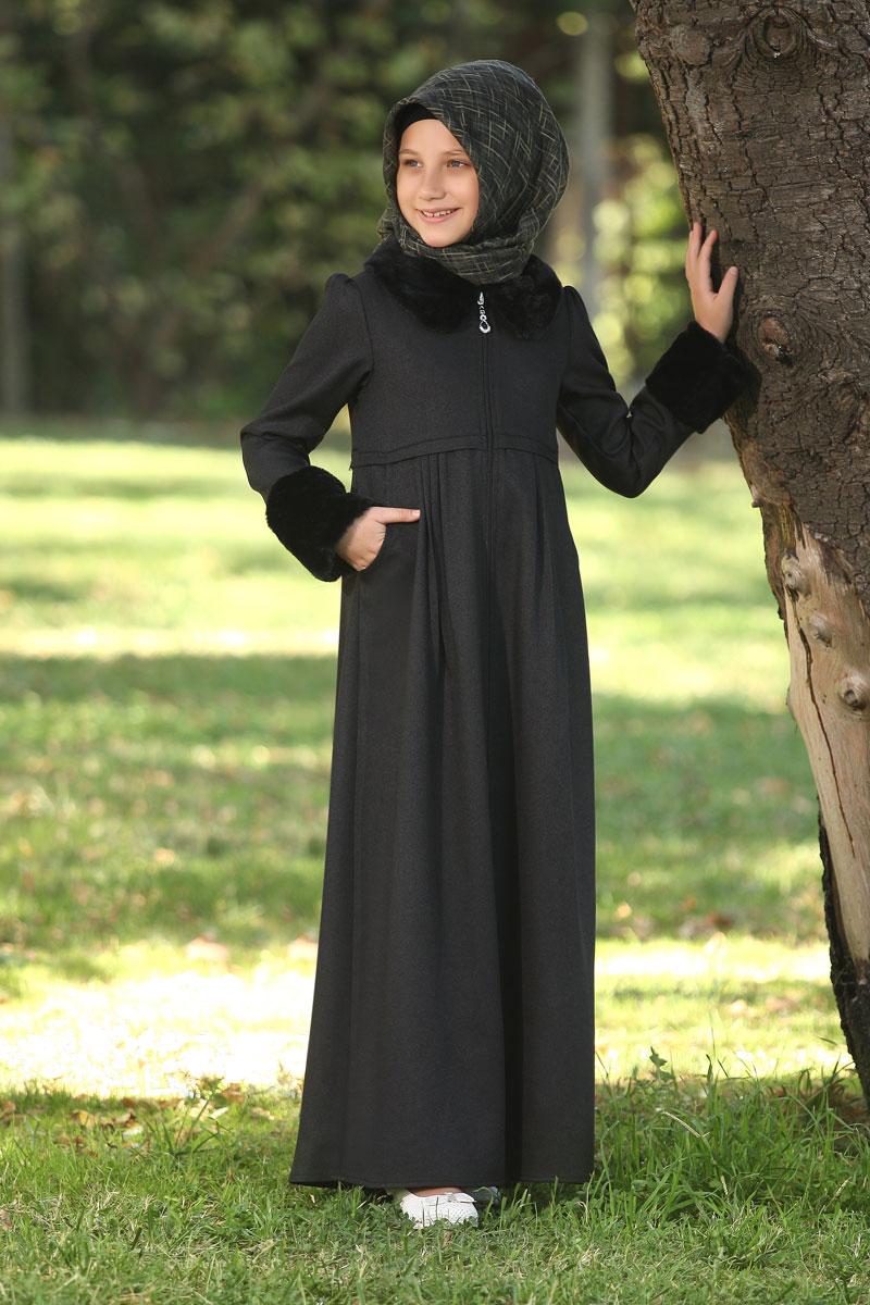 Çocuk Tesettür Ferace Kürklü Model Siyah