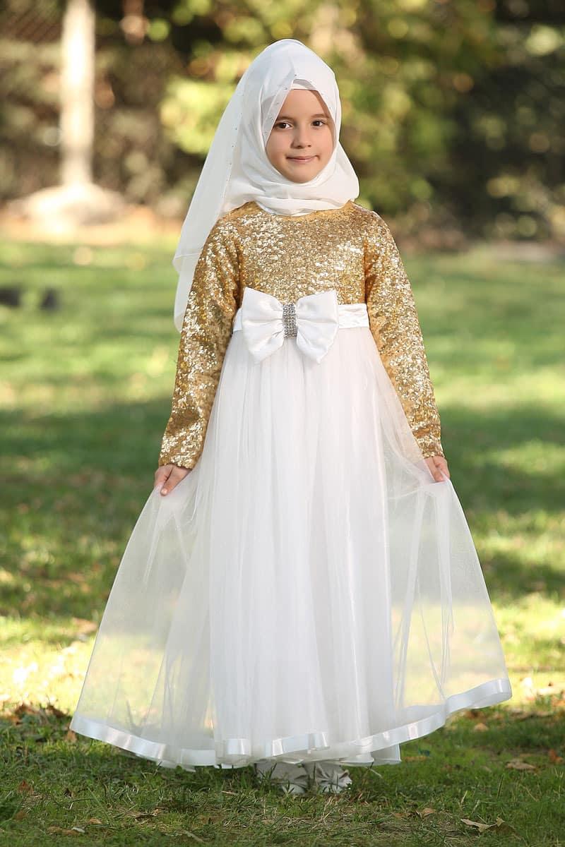 Çocuk Tesettür Abiye Payetli Model Sarı