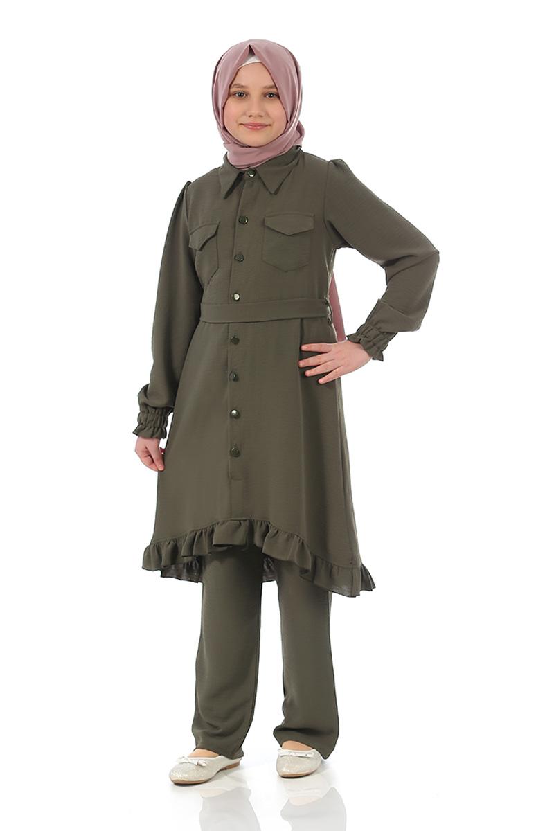 Çocuk Tesettür Tunik Takım Düğmeli Model Haki