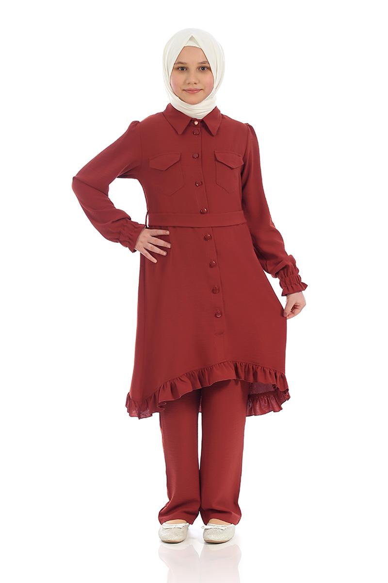 Çocuk Tesettür Tunik Takım Düğmeli Model Kiremit