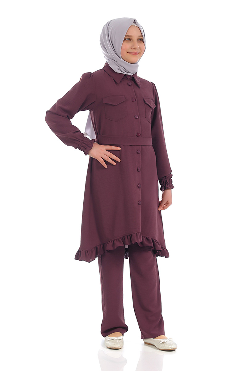 Çocuk Tesettür Tunik Takım Düğmeli Model Mürdüm
