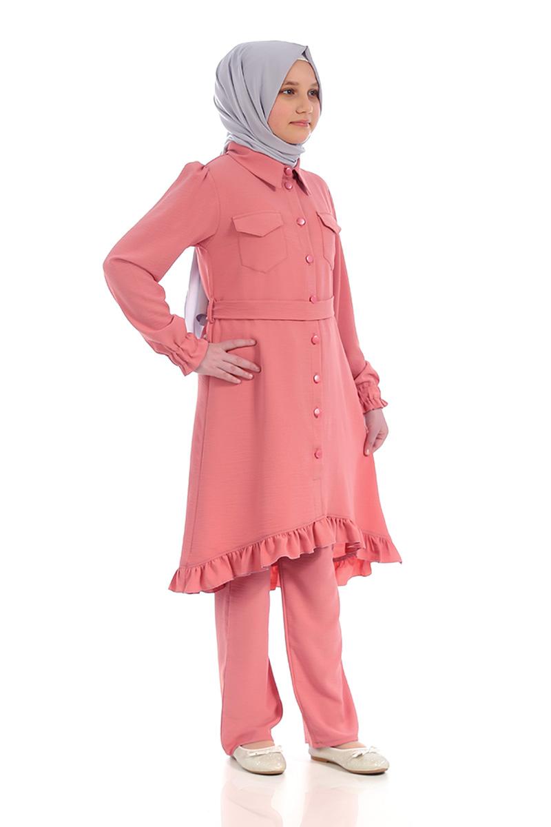 Çocuk Tesettür Tunik Takım Düğmeli Model Pudra