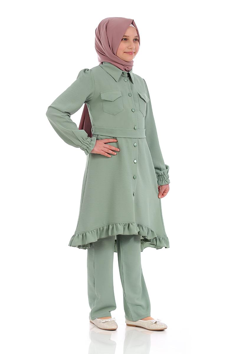 Çocuk Tesettür Tunik Takım Düğmeli Model Yeşil