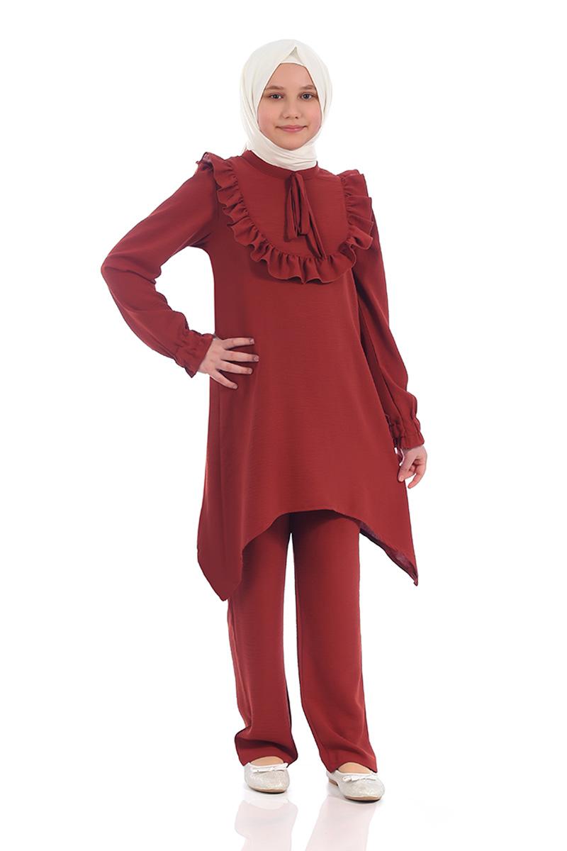 Çocuk Tesettür Tunik Takım Fırfırlı Model Kiremit