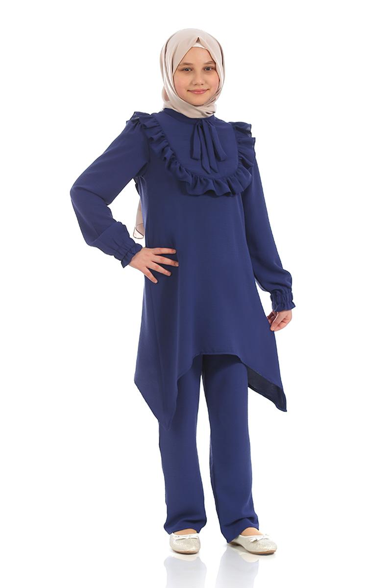Çocuk Tesettür Tunik Takım Fırfırlı Model Lacivert