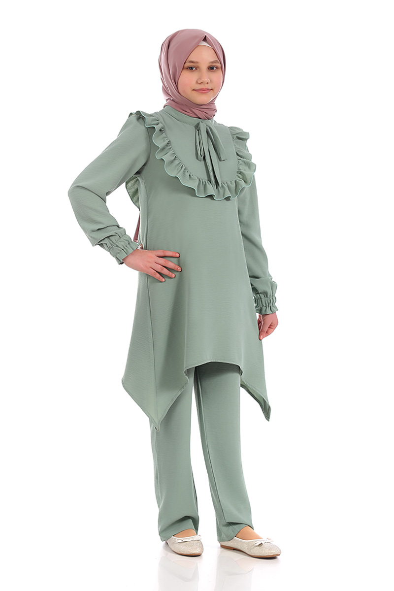Çocuk Tesettür Tunik Takım Fırfırlı Model Yeşil