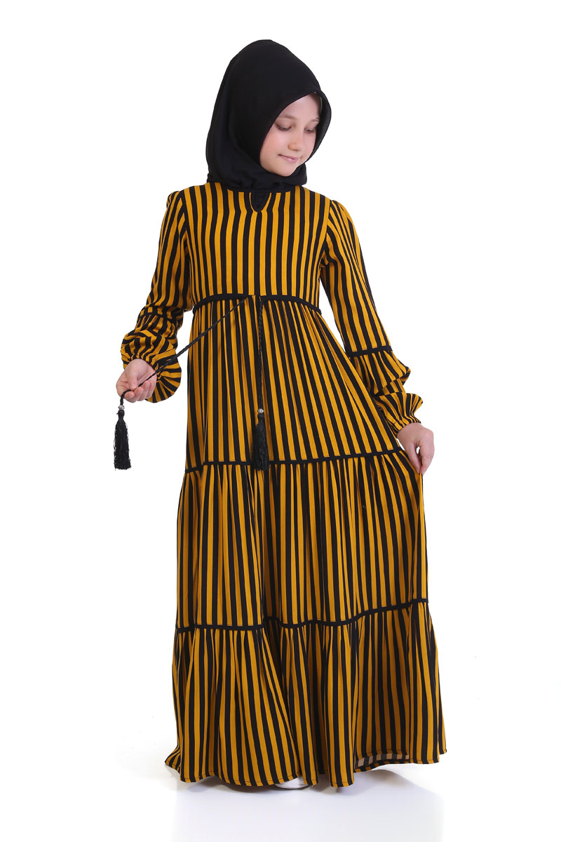 Çocuk Tesettür Elbise Elif Model Sarı